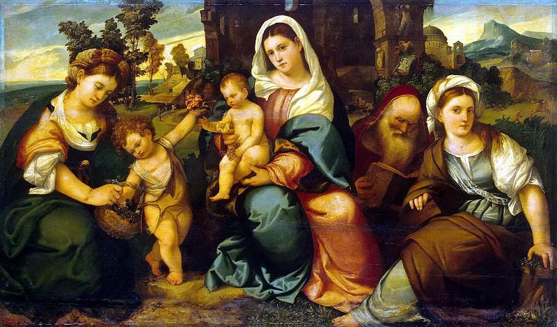 Бонифацио Веронезе - Мадонна с младенцем, святыми Екатериной, Иоанном Крестителем, Доротеей и Антонием Аббатом. Эрмитаж ~ часть 2