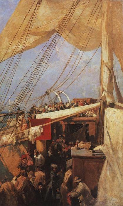 On the deck. 1880. Konstantin Alekseevich Korovin