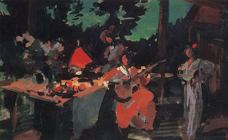 Terrace. Evening at the cottage. 1901. Konstantin Alekseevich Korovin