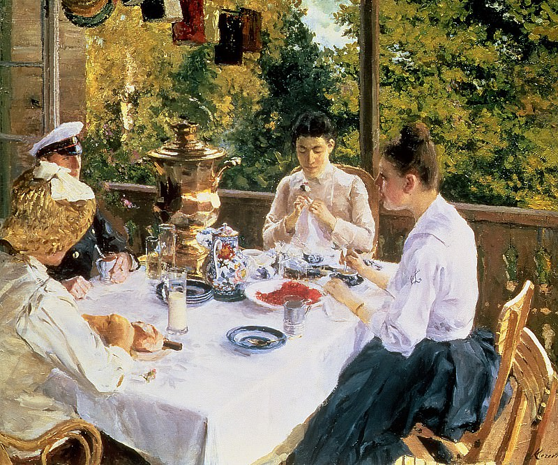 At the Tea-Table. Konstantin Alekseevich Korovin