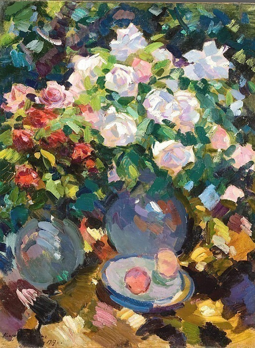 Roses in blue jugs. Konstantin Alekseevich Korovin