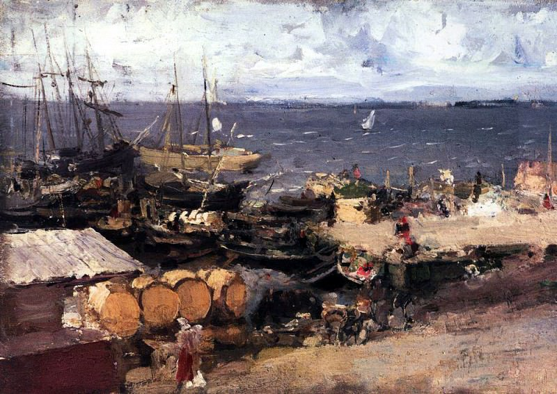 port of Archangel on the Dvina. 1894. Konstantin Alekseevich Korovin