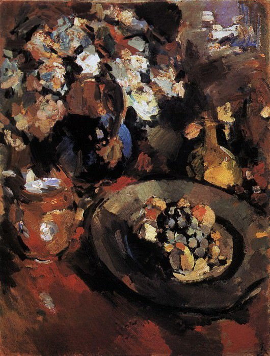 Still life with fruit and a bottle. 1930. Konstantin Alekseevich Korovin