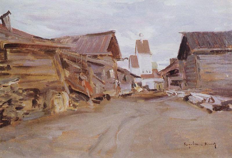 village in northern Russia. Mid 1890. Konstantin Alekseevich Korovin