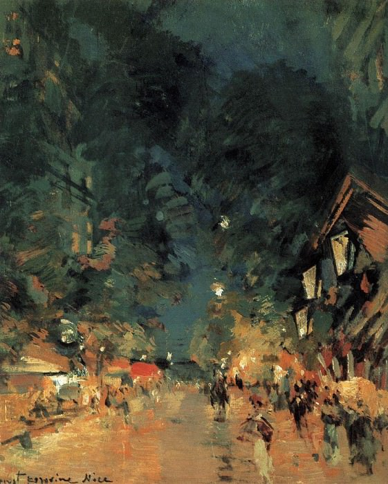 Nice. The street at night. 1909. Konstantin Alekseevich Korovin