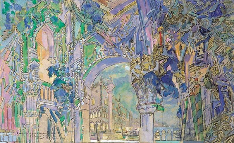 Curtain Sketch for the play LA RONDE DES HEURES. Konstantin Alekseevich Korovin