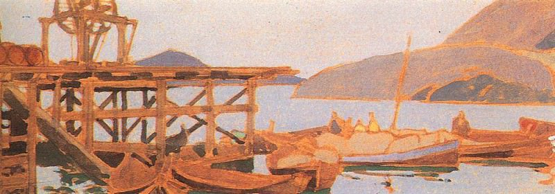 Pier at the factory in Murmansk. 1900. Konstantin Alekseevich Korovin