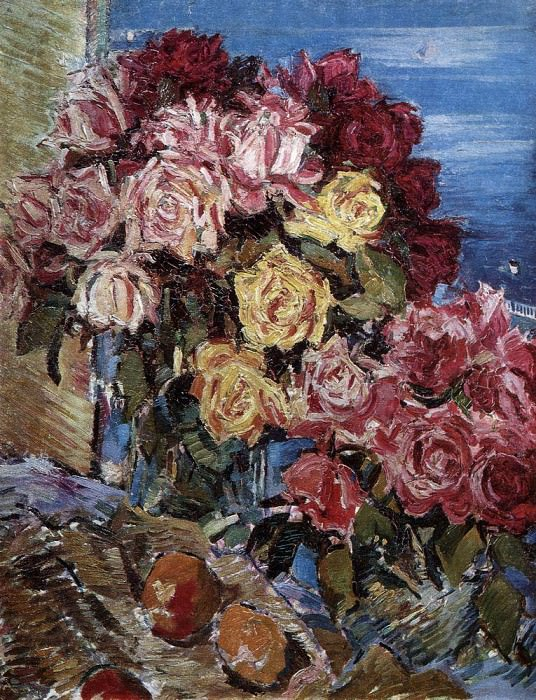 Roses on the background of the sea. 1930. Konstantin Alekseevich Korovin