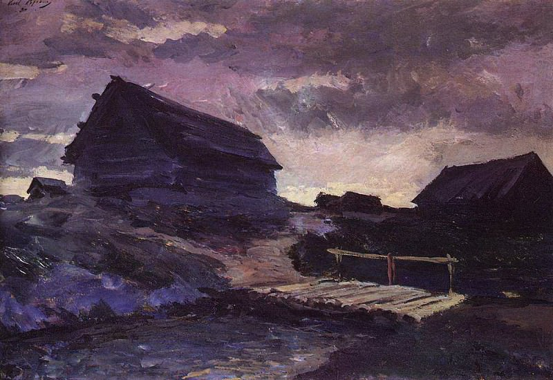 Landscape with cottages. 1894. Konstantin Alekseevich Korovin