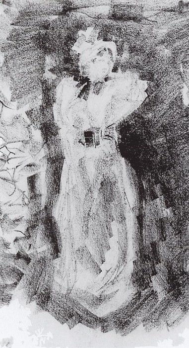 The lady in the hat. 1890. Konstantin Alekseevich Korovin