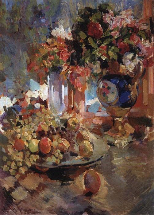 Still life with blue vase. 1922. Konstantin Alekseevich Korovin