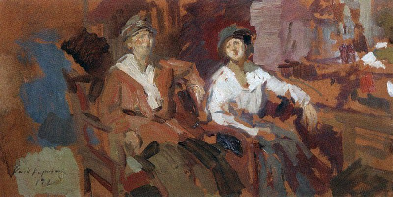 Two in the chair. 1921. Konstantin Alekseevich Korovin