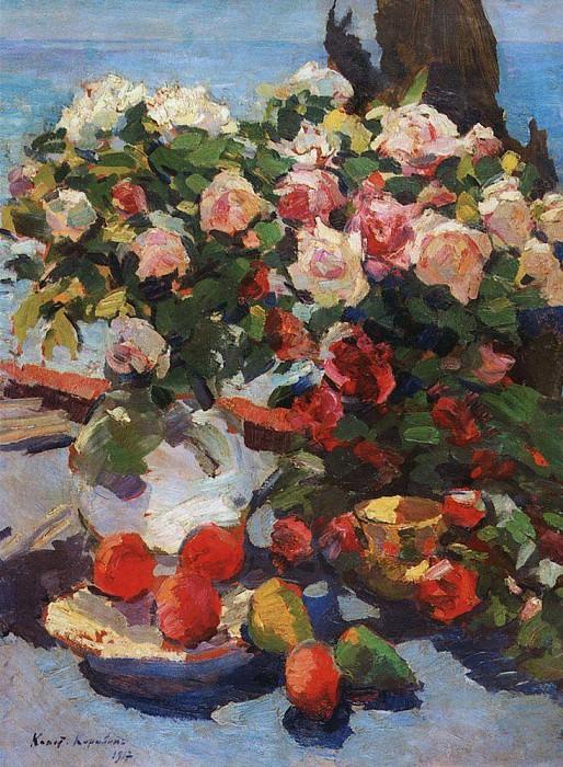 Roses and fruit. 1917. Konstantin Alekseevich Korovin