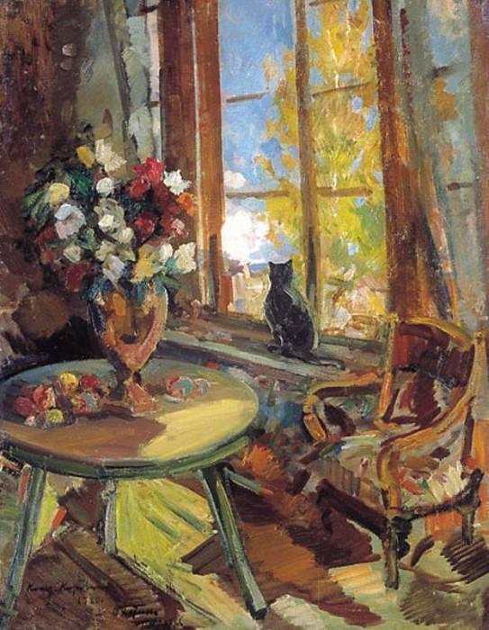Black cat on a windowsill. 1902. Konstantin Alekseevich Korovin