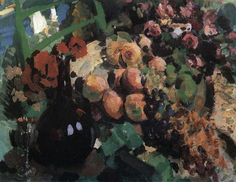 Still Life. Wine, fruit. 1910. Konstantin Alekseevich Korovin