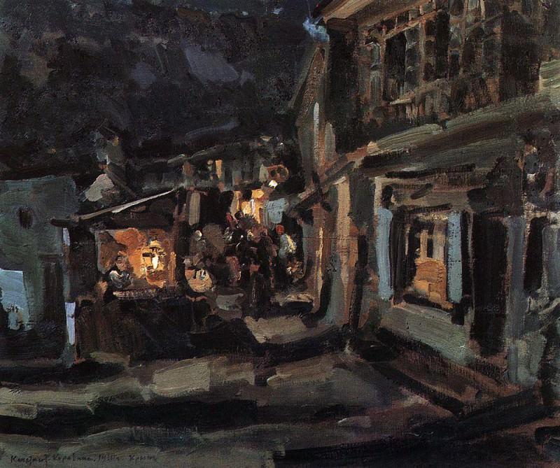Tatar street in Yalta. Night. 1910. Konstantin Alekseevich Korovin