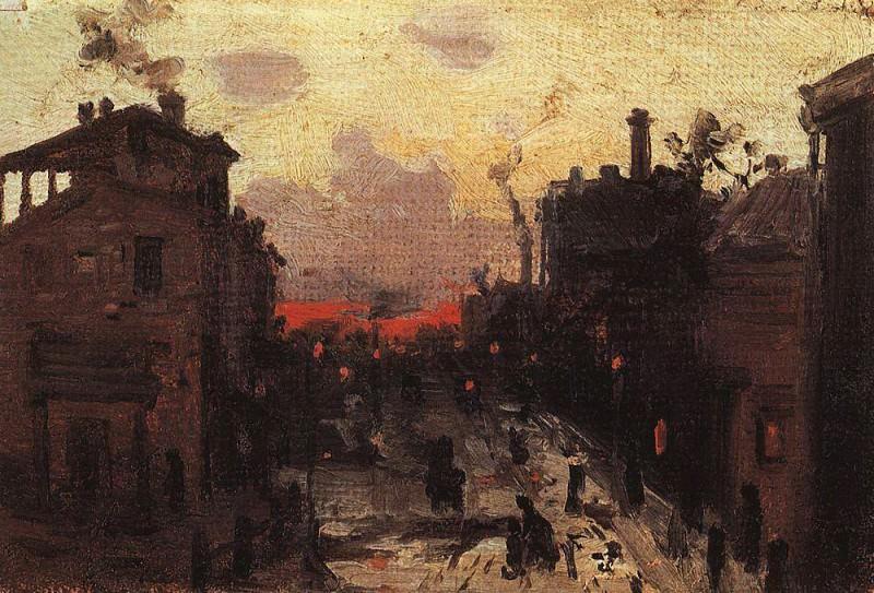 Sunset on the outskirts. 1900 e. Konstantin Alekseevich Korovin