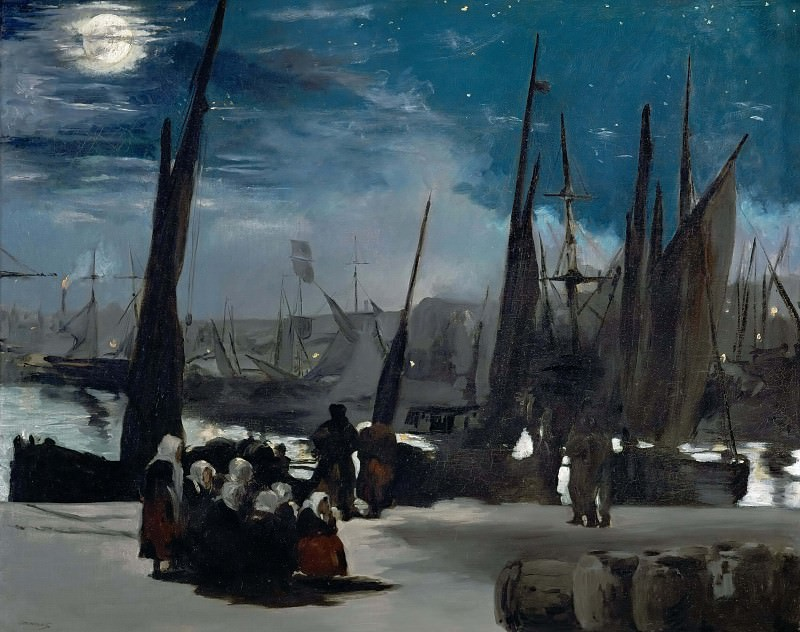 Moonlight over Bologne Harbor. Édouard Manet