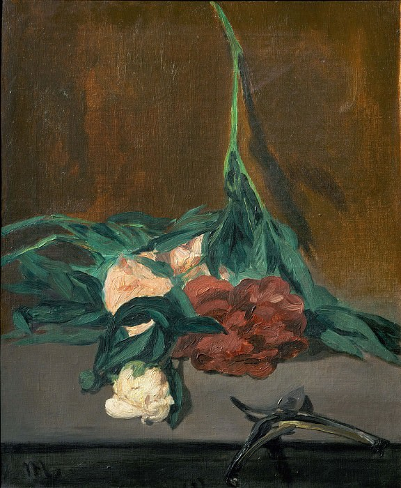 A stems of peonies and garden shears. Édouard Manet