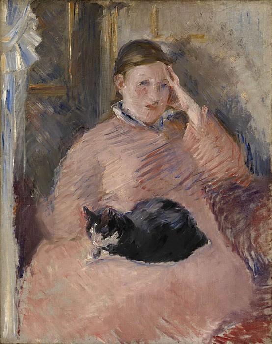 Woman with a Cat (Portrait of Madame Manet). Édouard Manet
