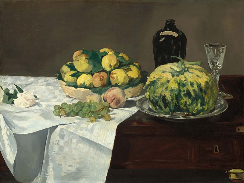 Still Life with Melon and Peaches. Édouard Manet