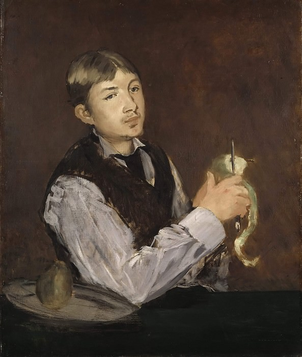 Young Man Peeling a Pear also known as Portrait of Leon Leenhoff. Édouard Manet