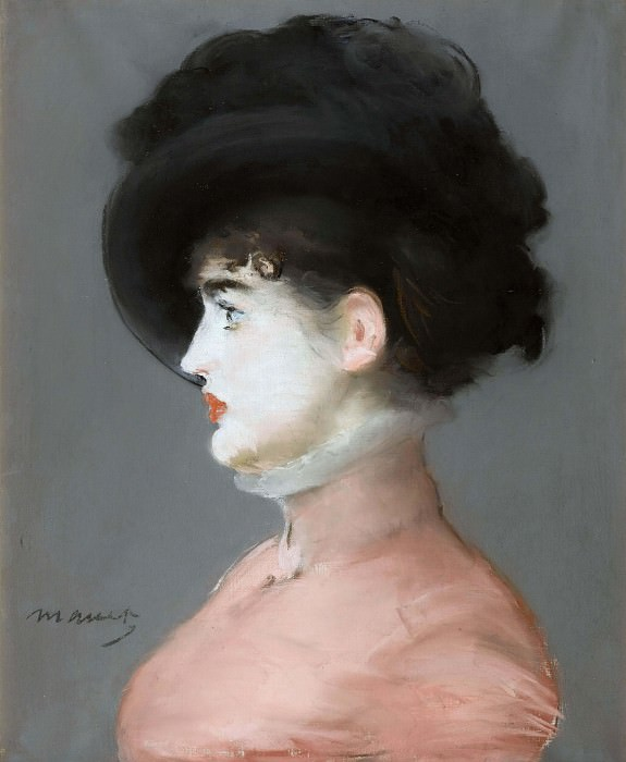 Woman in a black hat (portrait of Irma Brunner). Édouard Manet
