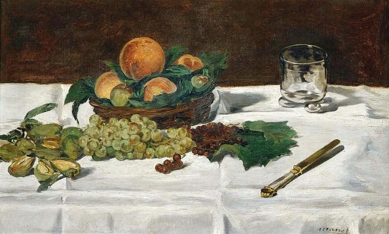 Still-life, fruit on a table. Édouard Manet