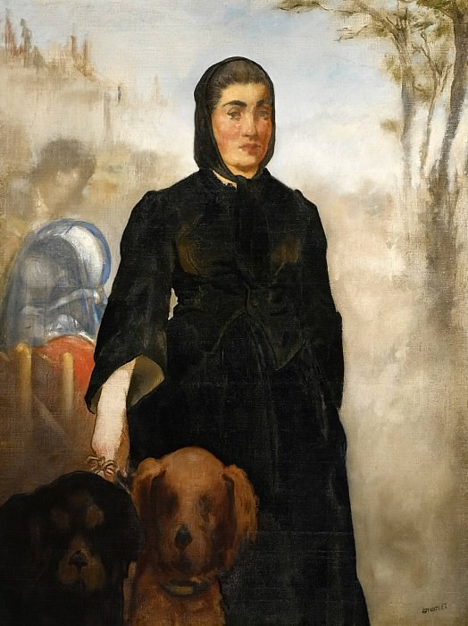 Woman with dogs. Édouard Manet