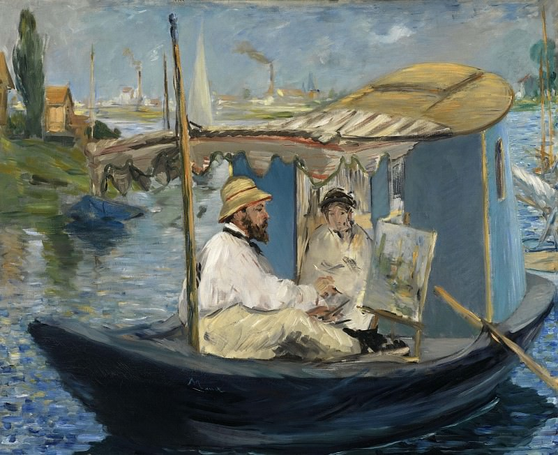 The Boat (Claude Monet, with Madame Monet, Working on his Boat in Argenteuil). Édouard Manet