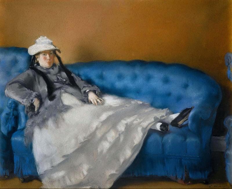 Madame Manet on Blue Sofa. Édouard Manet