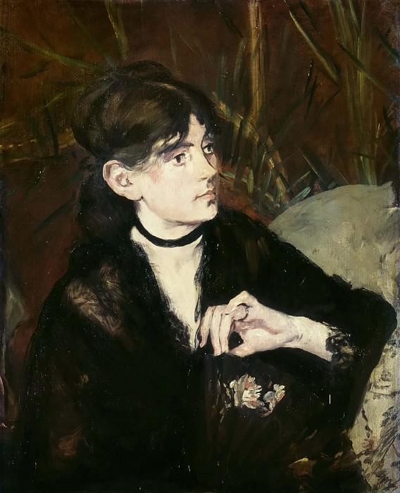 Berthe Morisot, holding a fan. Édouard Manet