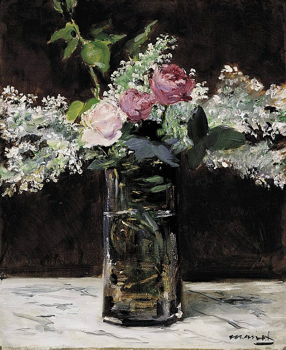 Vase of White Lilacs and Roses. Édouard Manet