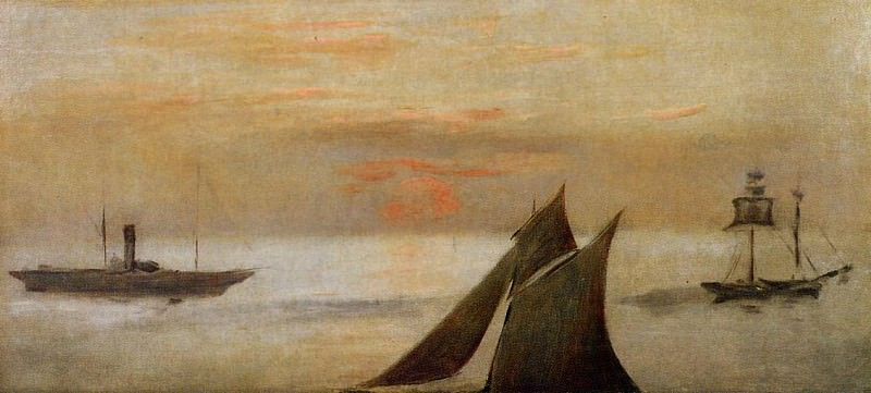 Boats at Sea. Sunset. Édouard Manet
