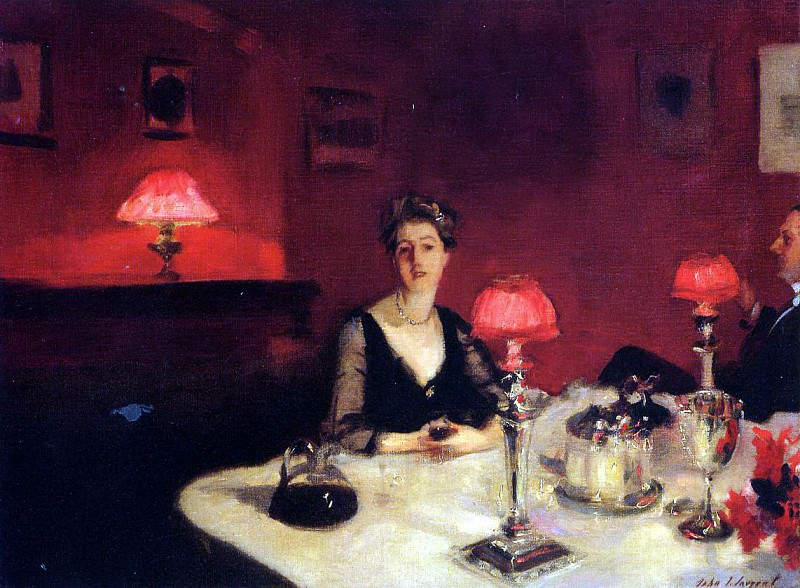 A Dinner Table at Night (Mr. and Mrs. Albert Vickers). John Singer Sargent