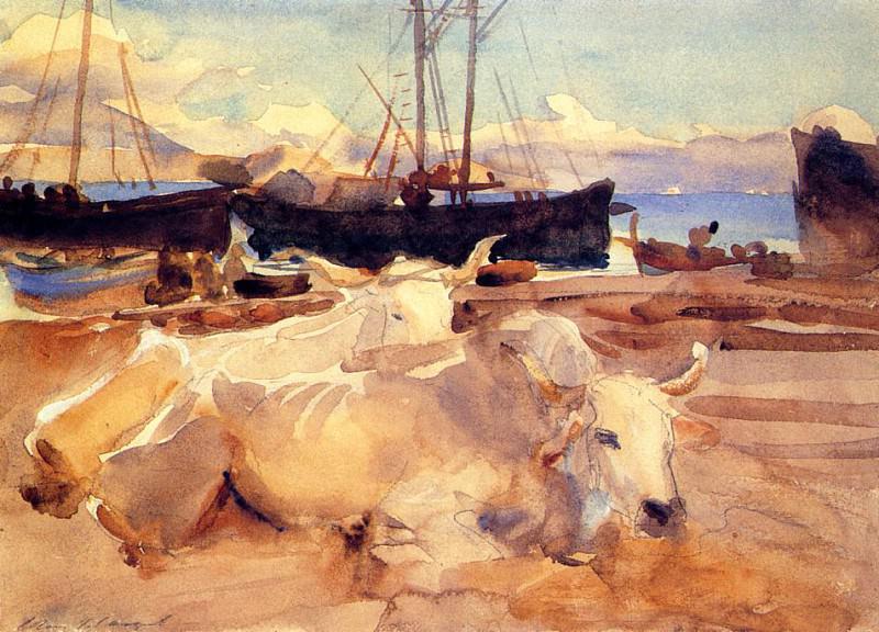 Oxen on the Beach at Baia. John Singer Sargent