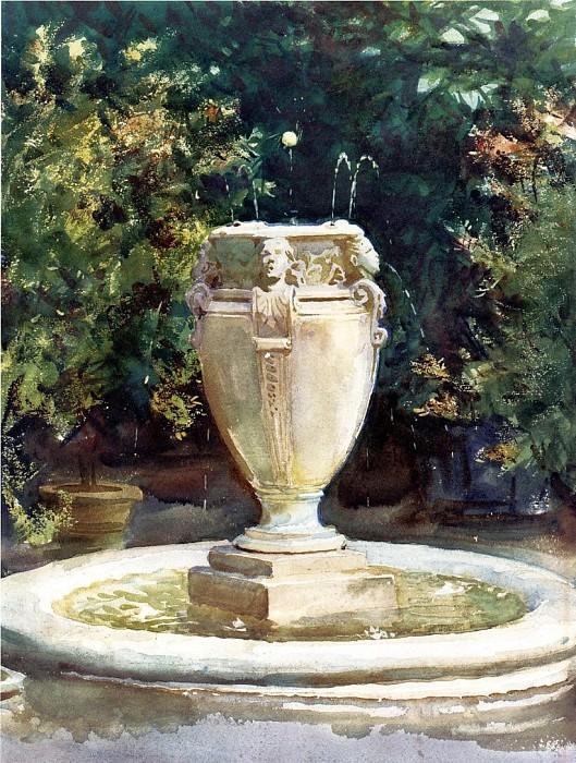 Vase Fountain, Pocantico. John Singer Sargent