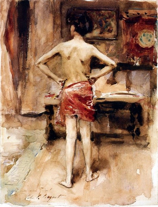 The Model. Interior with Standing Figure. John Singer Sargent