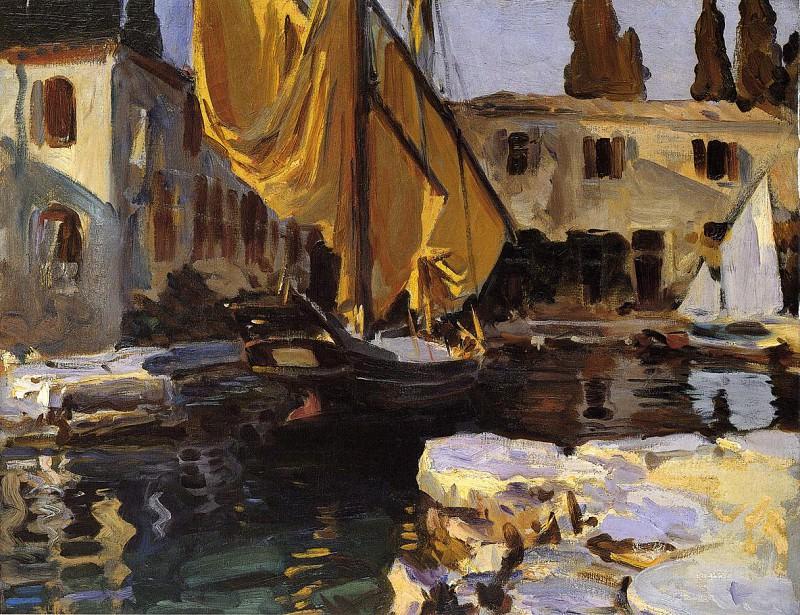 Boat with The Golden Sail, San Vigilio. John Singer Sargent