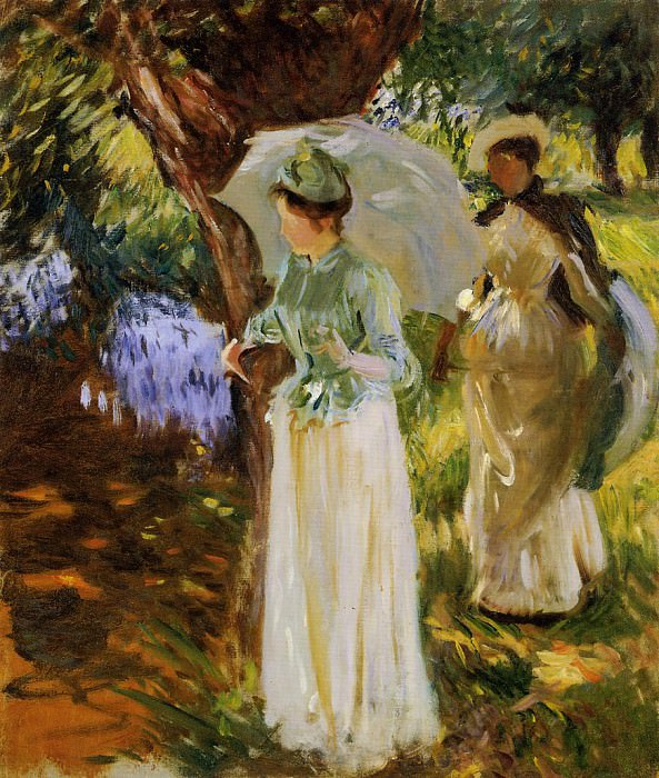 Two Girls with Parasols at Fladbury. John Singer Sargent