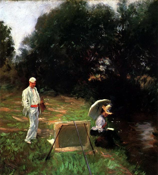 Dennis Miller Bunker Painting at Calcot. John Singer Sargent