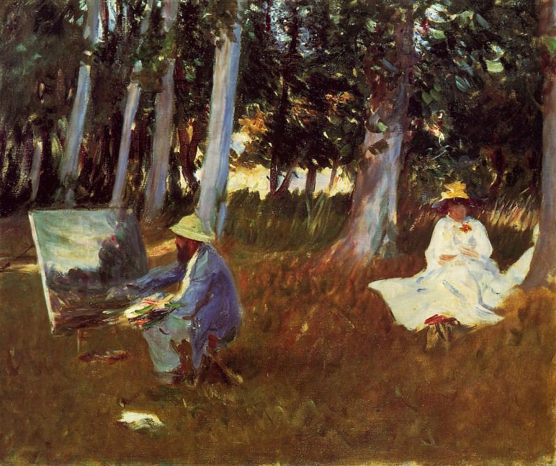 Claude Monet Painting by the Edge of the Woods. John Singer Sargent