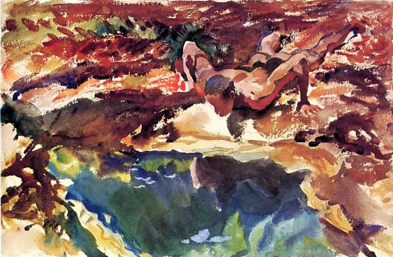 Figure and Pool. John Singer Sargent
