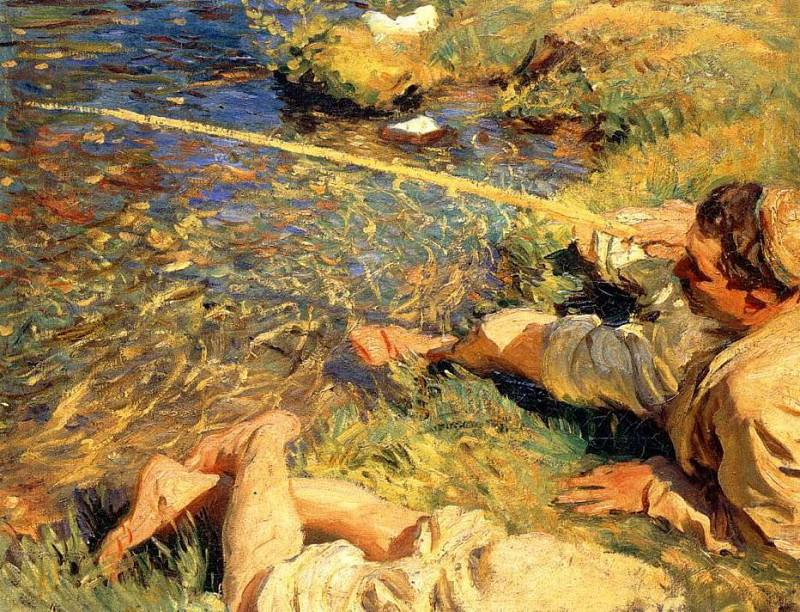 Val d'Aosta, Man Fishing. John Singer Sargent