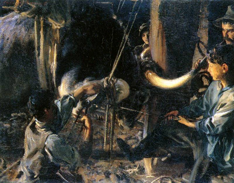 Shoeing the Ox. John Singer Sargent