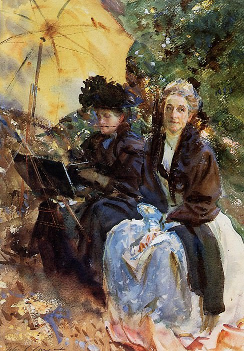 Miss Wedewood and Miss Sargent Sketching. John Singer Sargent