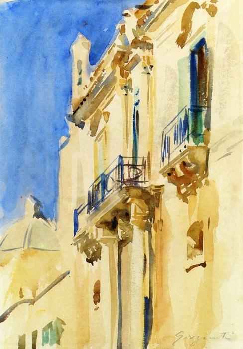 Facade of a Palazzo, Girgente, Sicily. John Singer Sargent