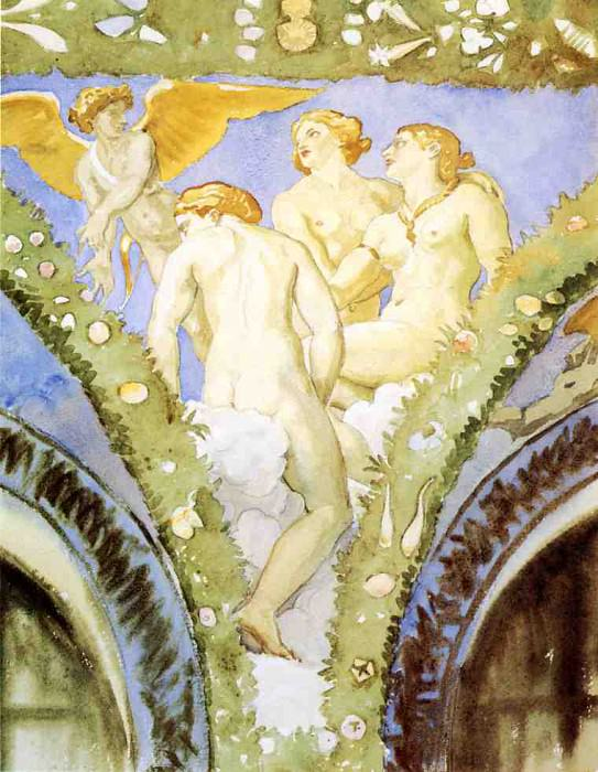 Three Nudes with Cupid. John Singer Sargent