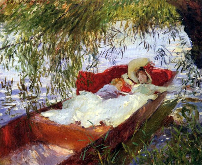 Two Women Asleep in a Punt under the Willows. John Singer Sargent