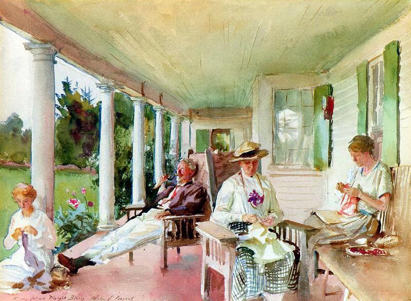 On the Verandah. John Singer Sargent